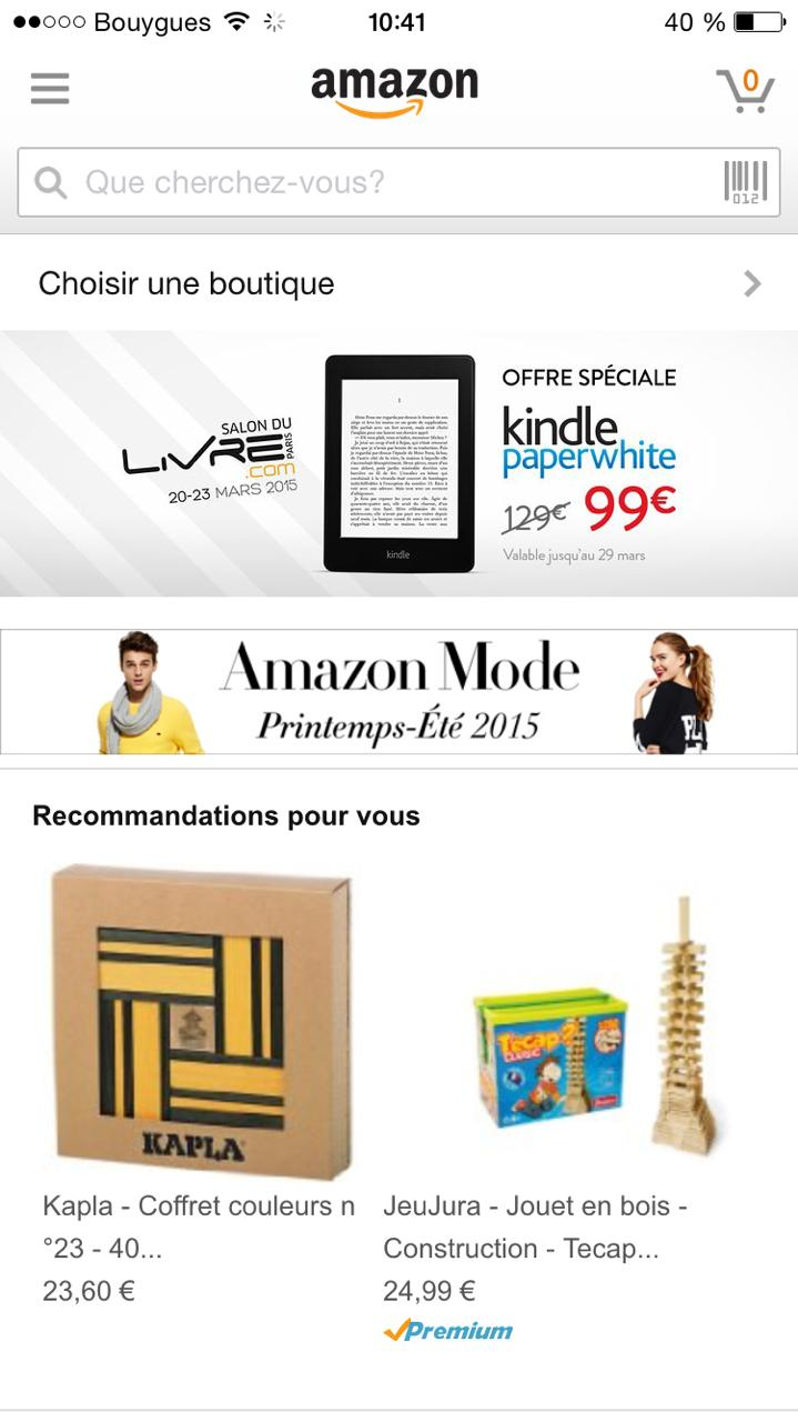 ou trouver bouton menu dans application amazone kindle